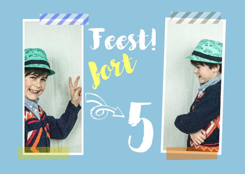Kinderfeestjes - Kinderfeestje jongen fotokaart kleur aanpasbaar