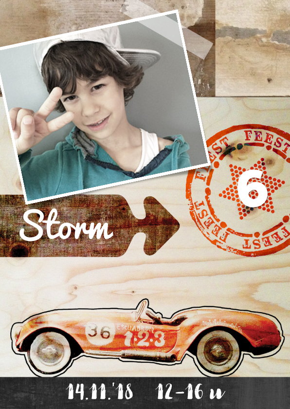 Kinderfeestjes - Kinderfeestje jongen hip met race auto