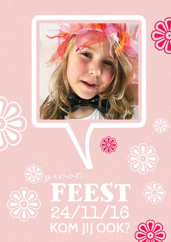 Kinderfeestjes - Kinderfeestje kaart bloemen