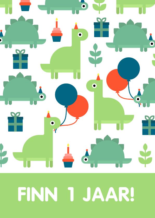 Kinderfeestjes - Kinderfeestje kaart met feestende dino's