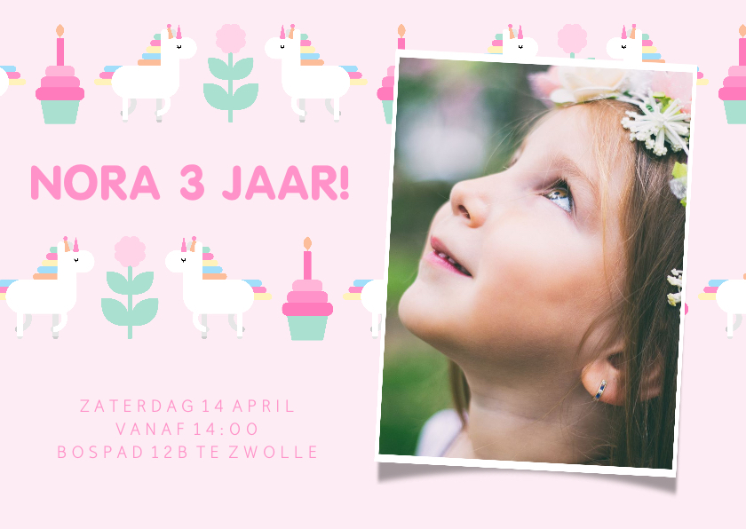 Kinderfeestjes - Kinderfeestje kaart met feestende unicorns en foto