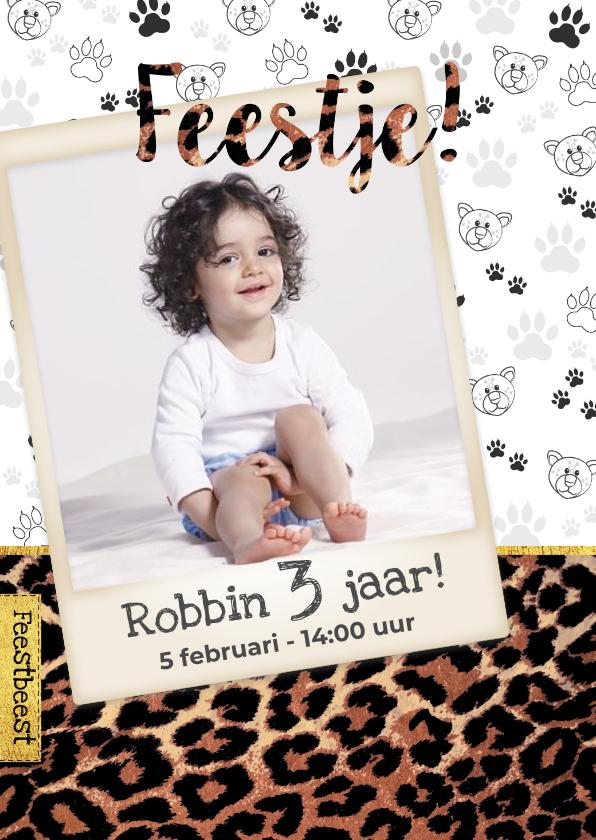 Kinderfeestjes - Kinderfeestje kaart panterprint voor kleine feestbeesten