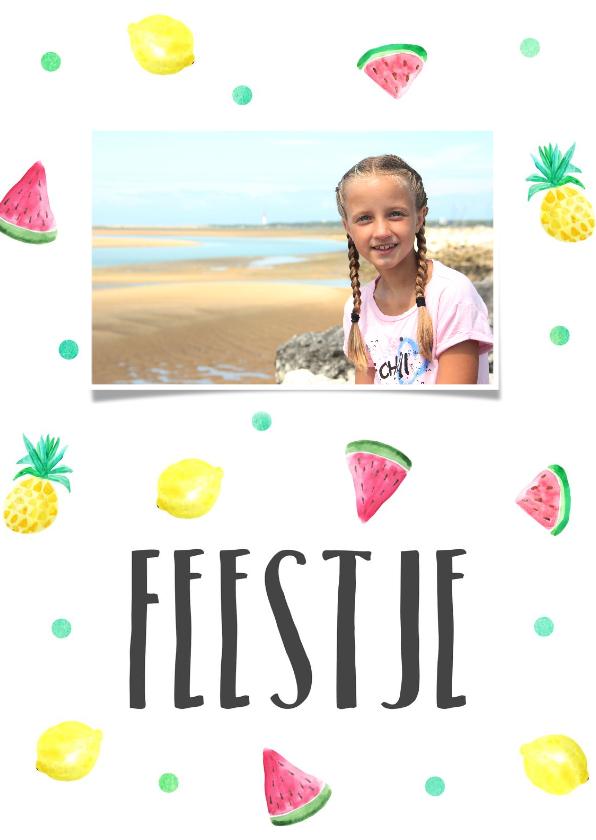 Kinderfeestjes - Kinderfeestje kaartje zomerfruit