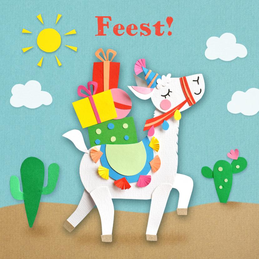 Kinderfeestjes - Kinderfeestje lama met cadeautjes uitnodiging