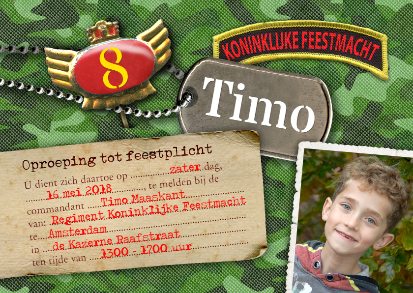 Kinderfeestjes - Kinderfeestje leger camouflage foto feest