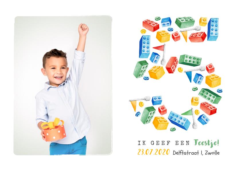 Kinderfeestjes - Kinderfeestje lego 5 jaar hip bouwen fotokaart