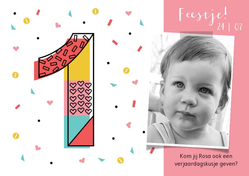 Kinderfeestjes - Kinderfeestje meisje 1 jaar hartjes confetti