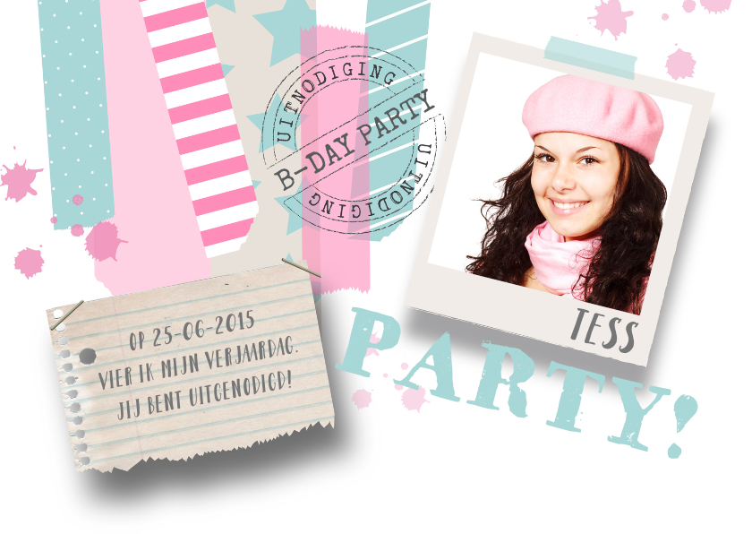 Kinderfeestjes - Kinderfeestje meisje foto tape stoer