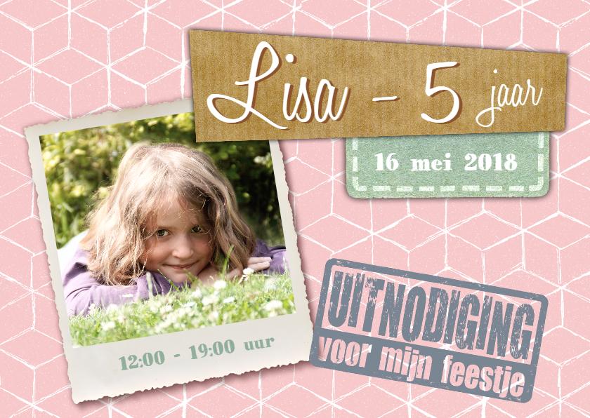 Kinderfeestjes - Kinderfeestje meisje uitnodiging pastel