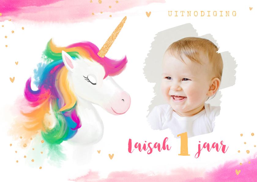 Kinderfeestjes - Kinderfeestje meisje waterverf unicorn goud
