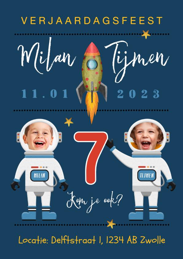 Kinderfeestjes - Kinderfeestje ruimte raket ruimte astronaut sterren tweeling