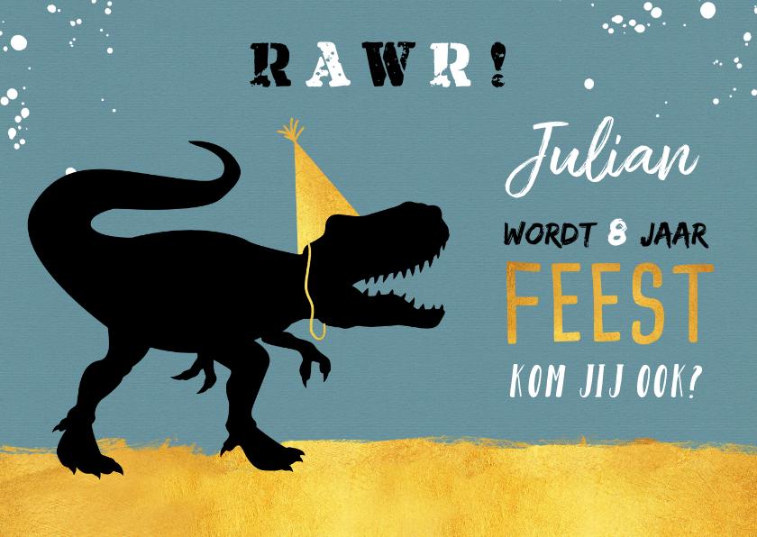 Kinderfeestjes - Kinderfeestje stoer met t-rex en hippe goudlook accenten