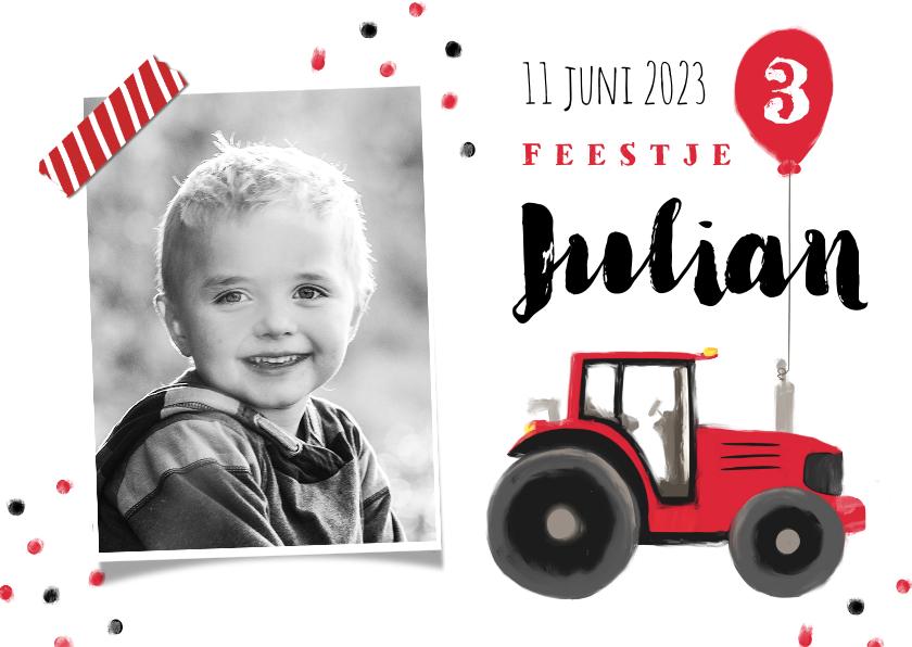 Kinderfeestjes - kinderfeestje stoer rood tractor confetti ballon boerderij