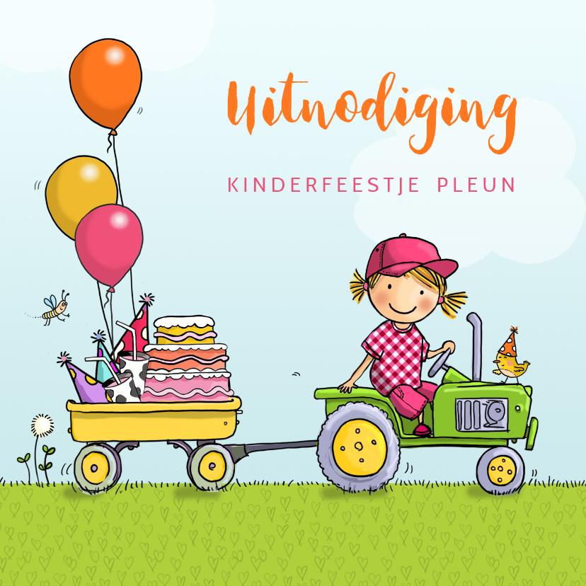 Kinderfeestjes - Kinderfeestje tractor met aanhanger meisje