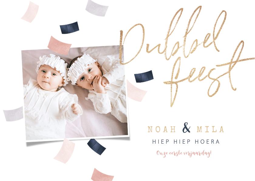 Kinderfeestjes - Kinderfeestje tweeling confetti dubbel feest roze goud