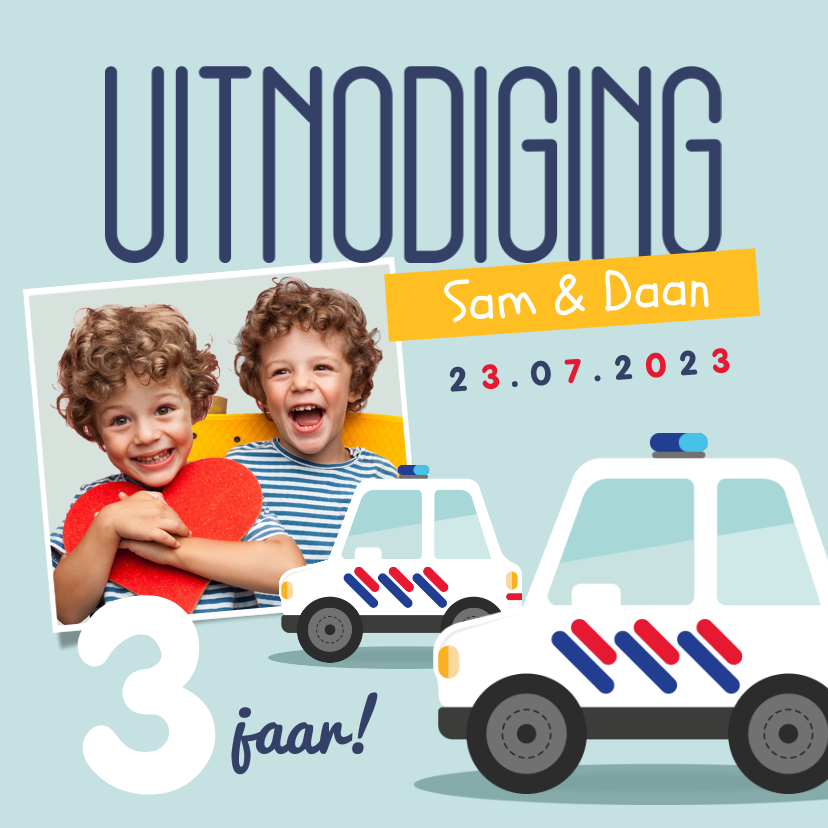 Kinderfeestjes - Kinderfeestje tweeling politieauto's foto's vrolijk