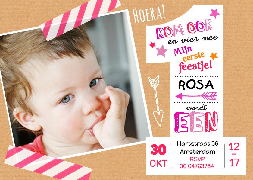 uitnodiging baby 1 jaar Kinderfeestje uitnodiging 1 jaar Rosa | Kaartje2go uitnodiging baby 1 jaar