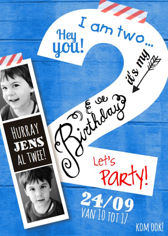 Kinderfeestjes - Kinderfeestje uitnodiging  2 jaar jongen