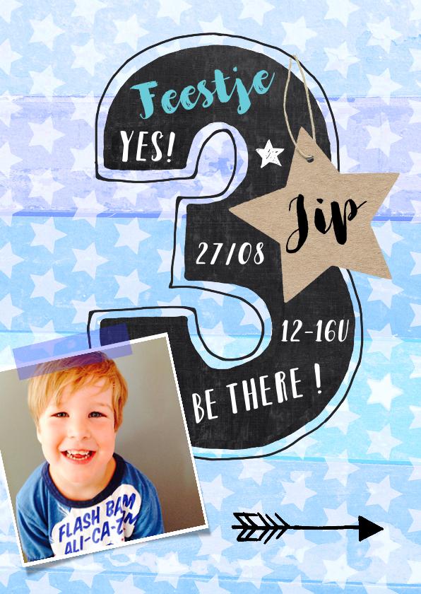 Kinderfeestjes - Kinderfeestje uitnodiging 3 jaar sterren