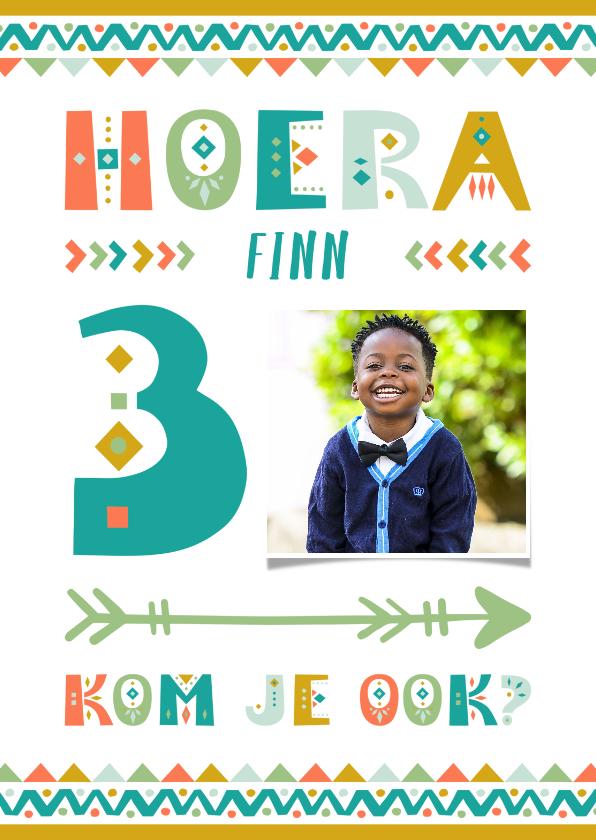 Kinderfeestjes - Kinderfeestje uitnodiging 3 jaar tribal stijl jongen