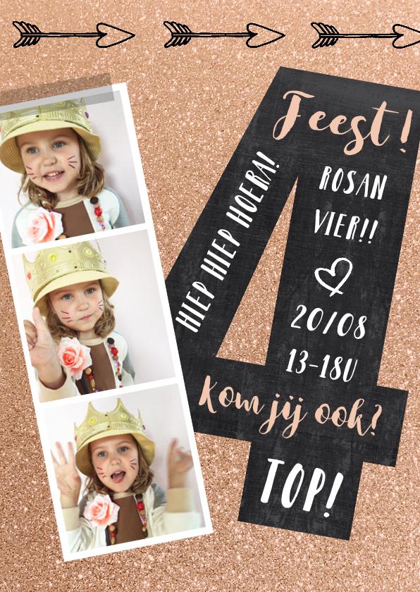 Kinderfeestjes - Kinderfeestje uitnodiging 4 jaar schoolbord