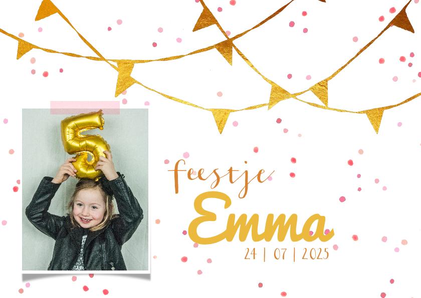 Kinderfeestjes - Kinderfeestje uitnodiging confetti goud roze