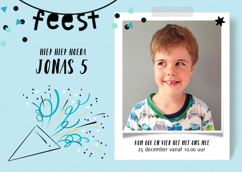 Kinderfeestjes - Kinderfeestje uitnodiging feest toeter jongen