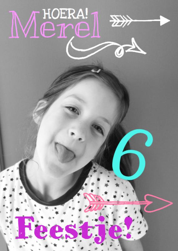 Kinderfeestjes - Kinderfeestje uitnodiging feestje meisje pijl