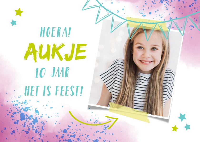 Kinderfeestjes - Kinderfeestje uitnodiging foto en spetters roze