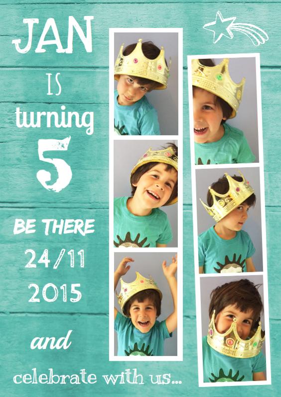 Kinderfeestjes - Kinderfeestje uitnodiging fotocollage Armin