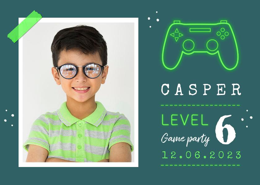 Kinderfeestjes - Kinderfeestje uitnodiging games controller groen