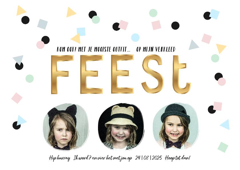 Kinderfeestjes - Kinderfeestje uitnodiging goud feest confetti
