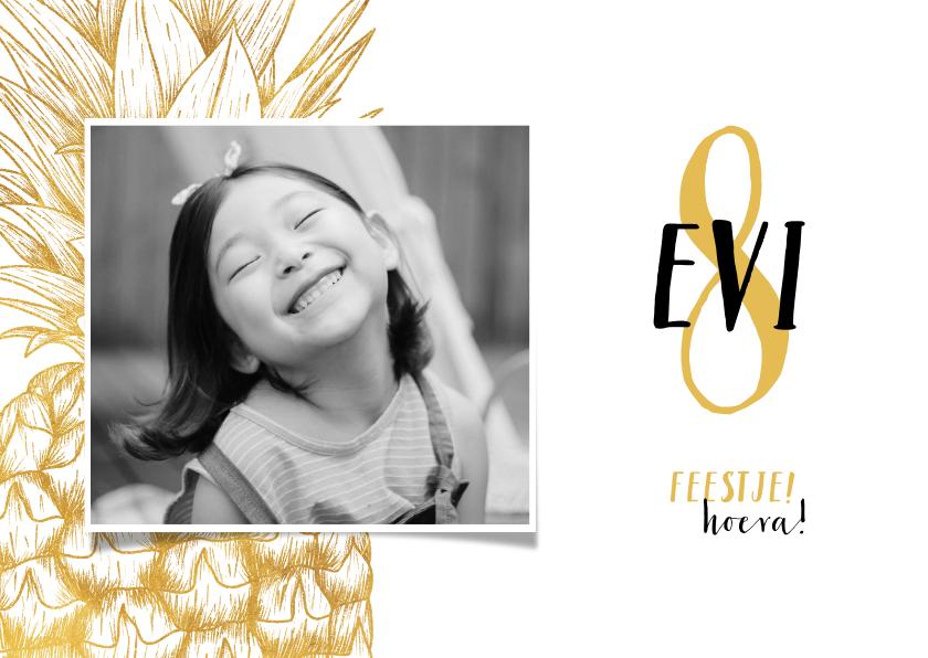Kinderfeestjes - Kinderfeestje uitnodiging gouden ananas aanpasbare kleur