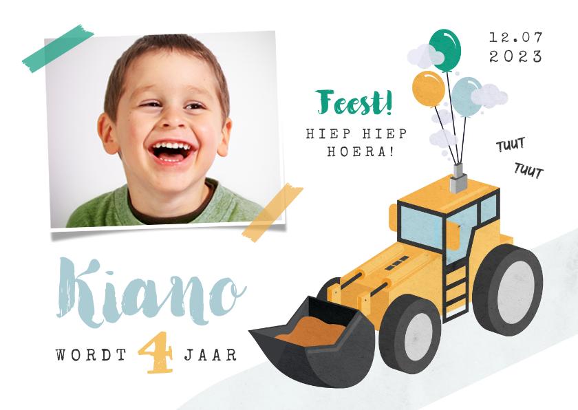 Kinderfeestjes - Kinderfeestje uitnodiging graafmachine tractor boerderij