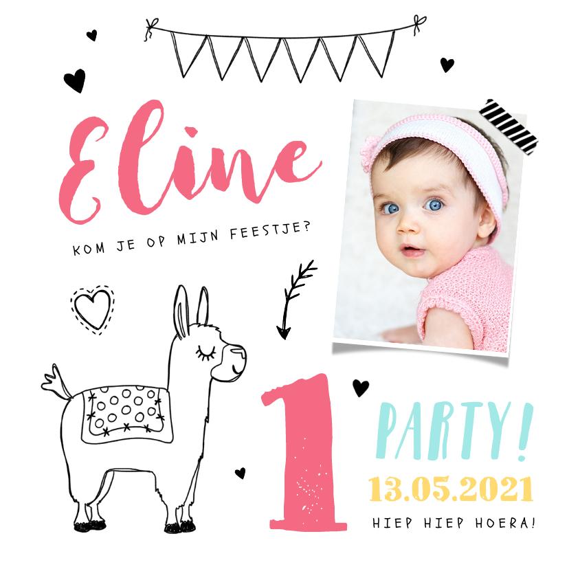 Kinderfeestjes - Kinderfeestje uitnodiging hip met alpaca illustratie en foto