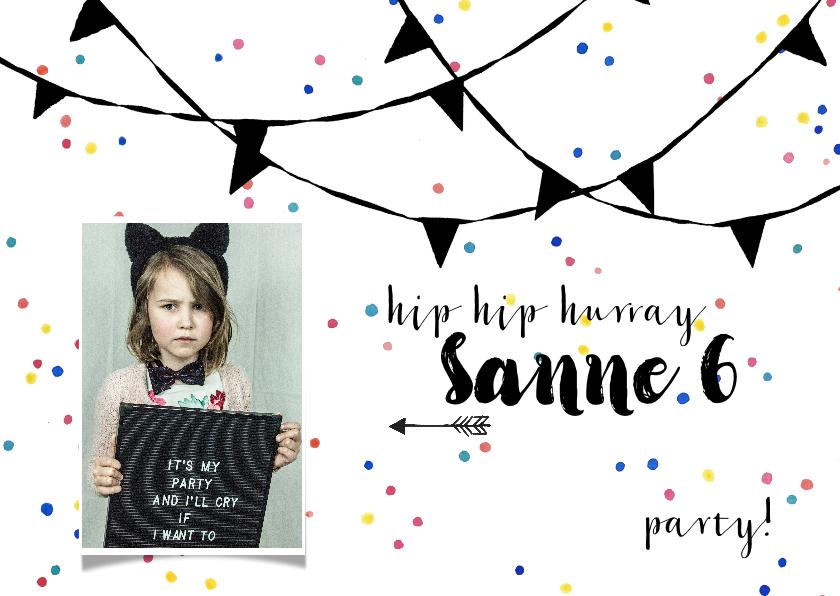 Kinderfeestjes - Kinderfeestje uitnodiging jongen meisje confetti slingers
