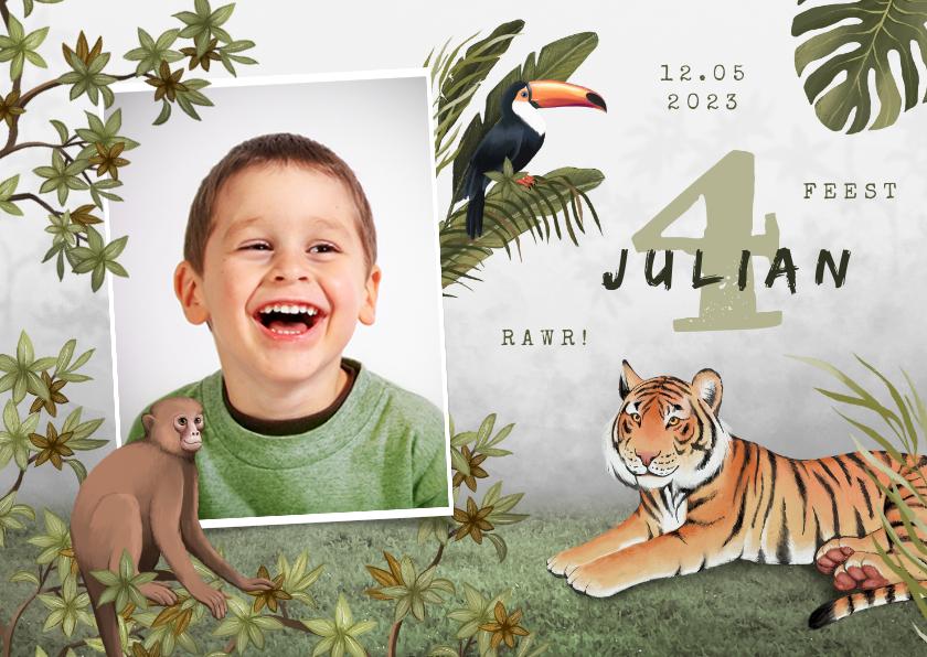 Kinderfeestjes - Kinderfeestje uitnodiging jungle dieren tropisch foto