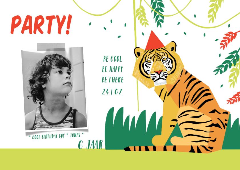 Kinderfeestjes - Kinderfeestje uitnodiging jungle party jongen