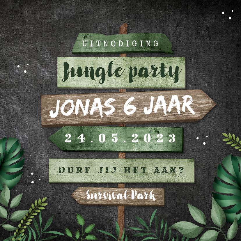 Kinderfeestjes - Kinderfeestje uitnodiging jungle wegwijzers krijt