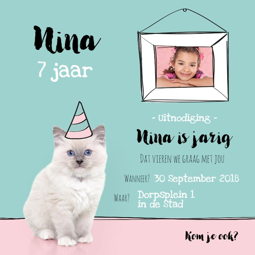 Kinderfeestjes - Kinderfeestje - Uitnodiging kitten met eigen foto