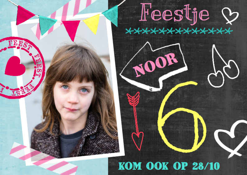 Kinderfeestjes - Kinderfeestje uitnodiging  krijtbord Noor