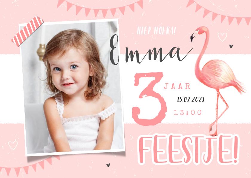 Kinderfeestjes - Kinderfeestje uitnodiging meisje flamingo lief hip foto