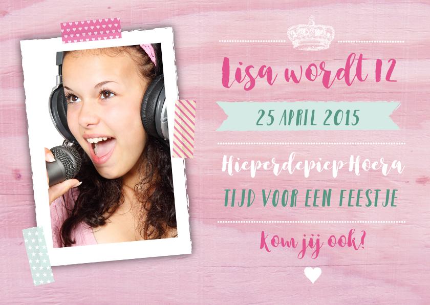 Kinderfeestjes - Kinderfeestje uitnodiging meisje houtlook roze foto
