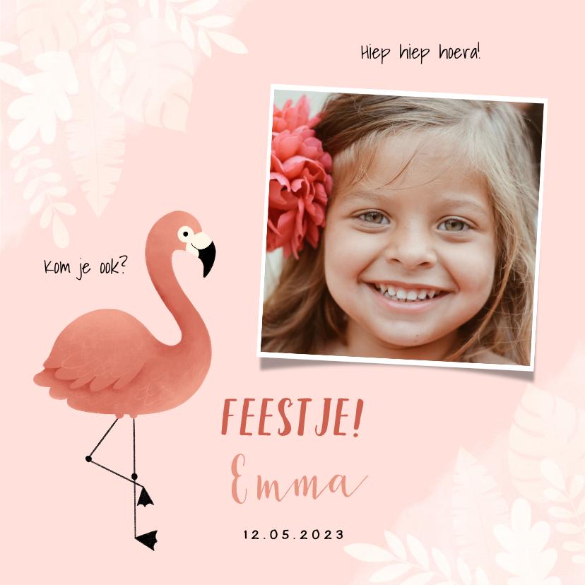 Kinderfeestjes - Kinderfeestje uitnodiging meisje met flamingo, jungle & foto