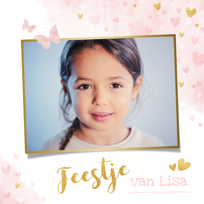 Kinderfeestjes - Kinderfeestje uitnodiging meisje met roze en gouden hartjes