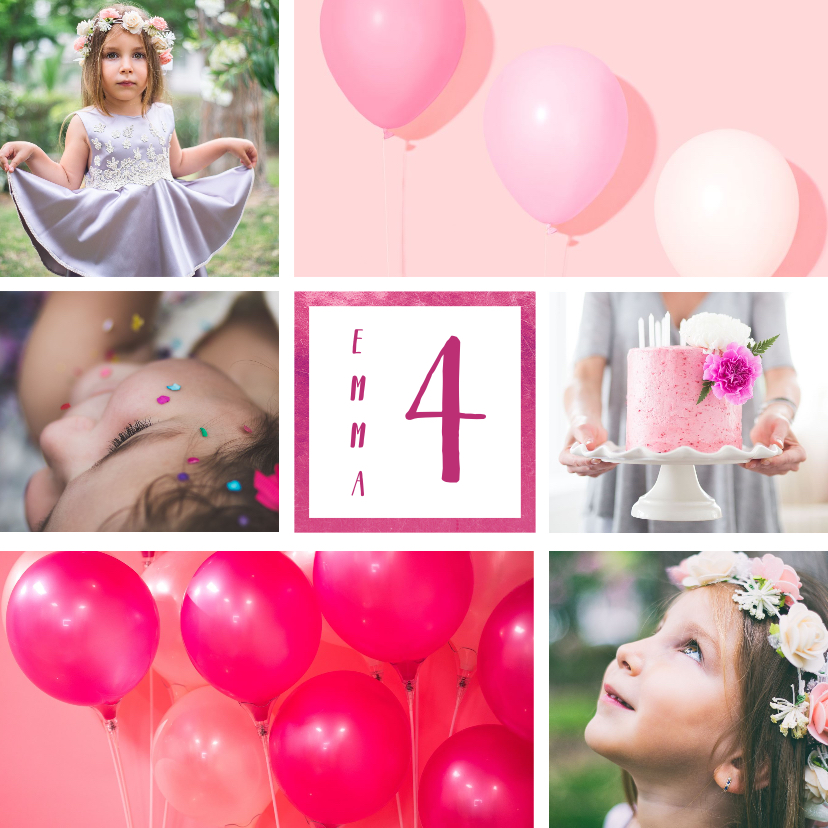 Kinderfeestjes - Kinderfeestje uitnodiging met 6 foto's roze