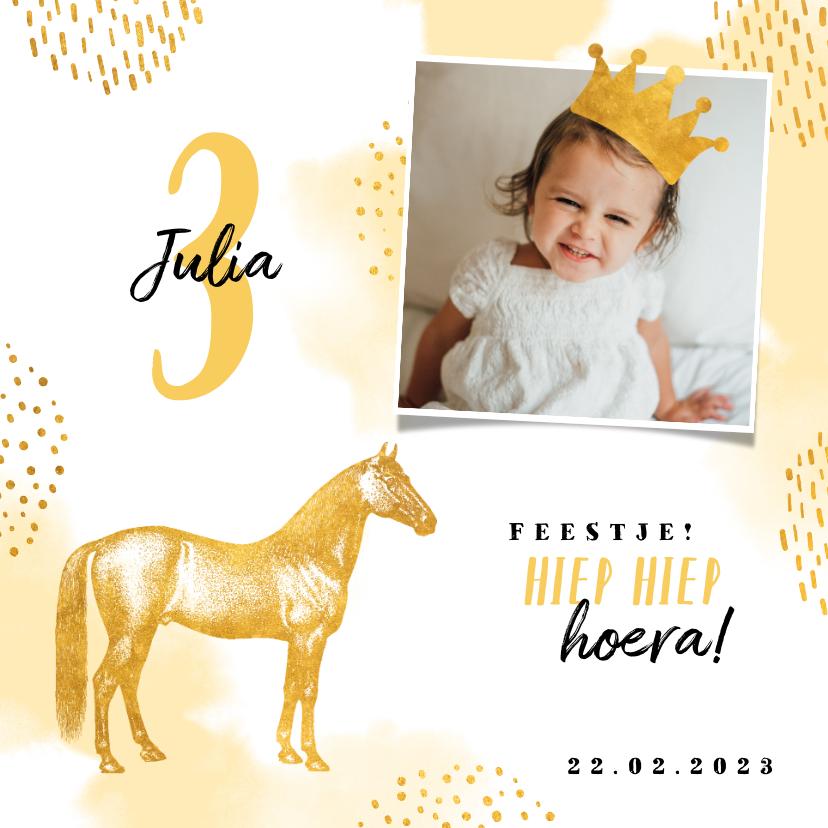 Kinderfeestjes - Kinderfeestje uitnodiging met foto, paard en kroontje