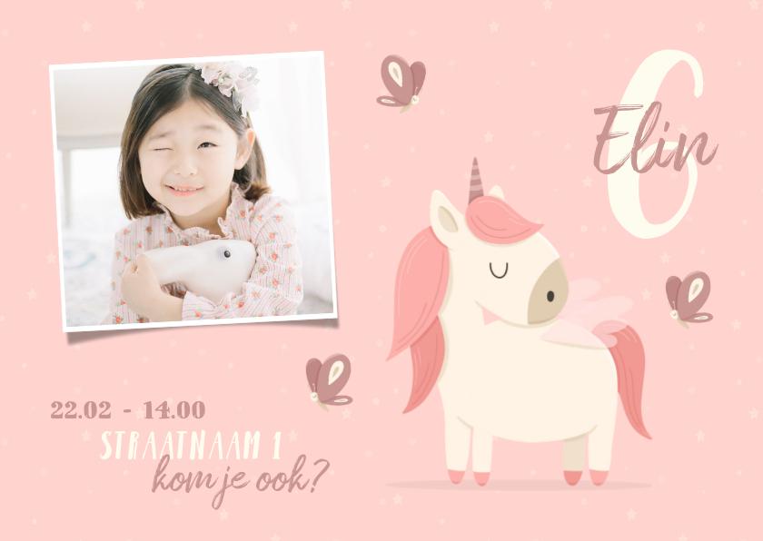 Kinderfeestjes - Kinderfeestje uitnodiging met foto, vlinders en unicorn
