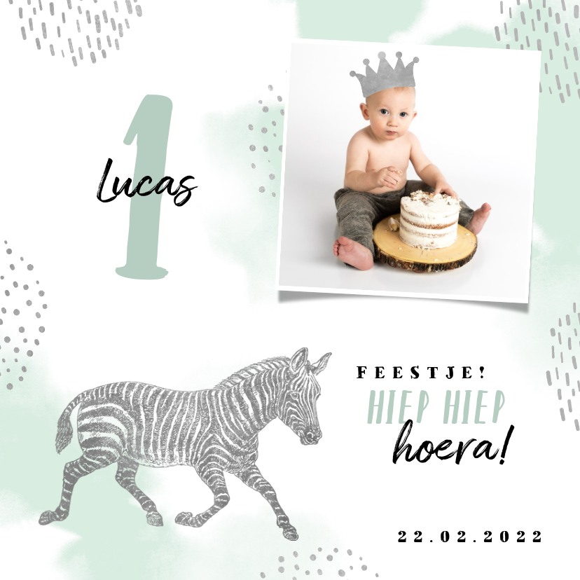 Kinderfeestjes - Kinderfeestje uitnodiging met foto, zebra en kroontje