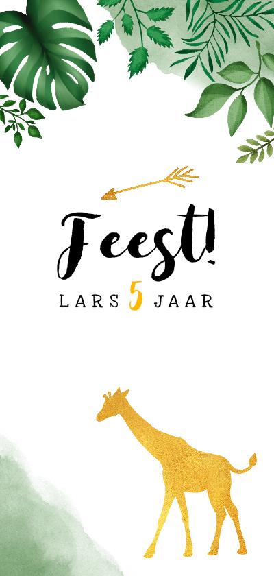 Kinderfeestjes - Kinderfeestje uitnodiging met jungle bladeren en giraffe